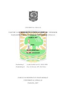 Faktor Yang Berhubungan Dengan Perilaku Merokok Mahasiswa Fakultas Hukum Universitas Andalas Tahun 2017 Eskripsi Universitas Andalas