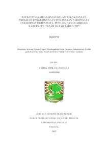 Efektivitas Organisasi Dalam Pelaksanaan Program Pengembangan Pemasaran Pariwisata Oleh Dinas Pariwisata Pemuda Dan Olahraga Kabupaten Tanah Datar Tahun 2017 Eskripsi Universitas Andalas