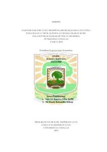 Faktor Faktor Yang Mempengaruhi Kejadian Stunting Pada Balita Umur 24 59 Bulan Di Kelurahan Kubu Dalam Parak Karakah Wilayah Kerja Puskesmas Andalas Tahun 2019 Eskripsi Universitas Andalas