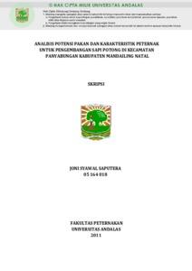 Analisis Potensi Pakan Dan Karakteristik Peternak Untuk Pengembangan Sapi Potong Di Kecamatan Panyabungan Kabupaten Mandailing Natal Eskripsi Universitas Andalas